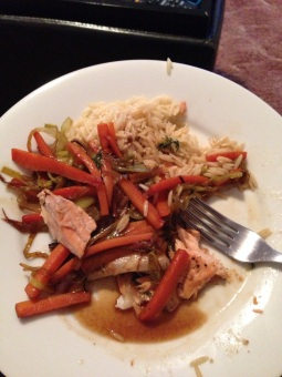 Salmon with Leeks and Carrots